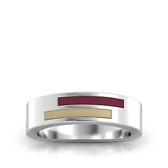 Florida State University Sterling Silver Asymmetric Enamel Ring In Red and Tan