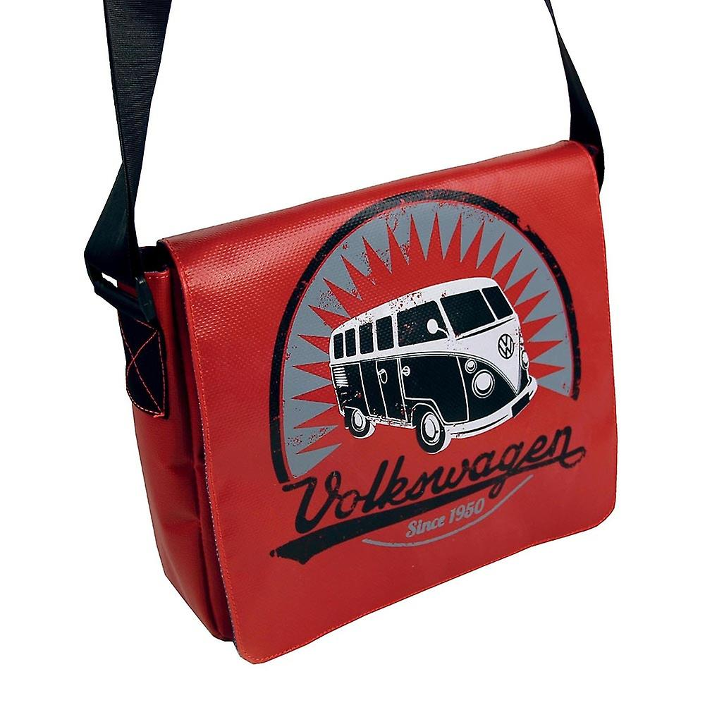 Official VW Camper Van T1 Tarpaulin Tablet Shoulder Messenger Bag - Red