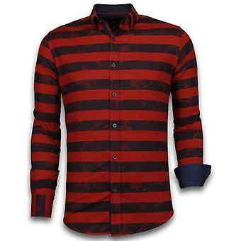 E Shirts - Slim Fit - Big Stripe Camouflage Pattern - Red