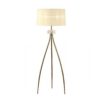 Mantra Loewe golvlampa 3 ljus E27, antik mässing med grädde skugga