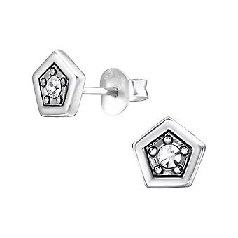 Pentagon - 925 Sterling Silver Crystal Ear Studs - W29383x