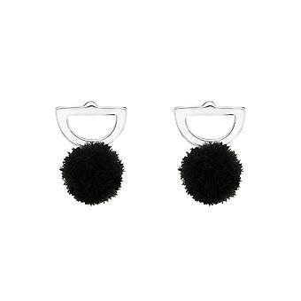 Ημι κύκλος - ασημένια ζωηρόχρωμα στηρίγματα αυτιών 925 στερλίνας - W37050x