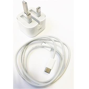 Apple 18W UK 3 Pin USB Type C Charger with USB C Charge Cable (1m) - White (Bulk Packed)