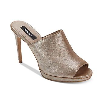DKNY Womens Val Leather Open Toe Casual Slide Sandals