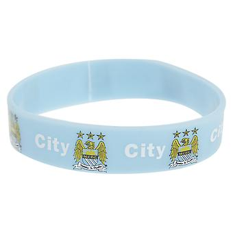 Manchester City FC Official Single Rubber Football Crest Wristband