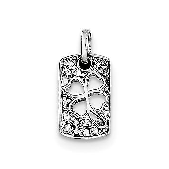 925 Sterling Silver Solid Cut out Reversible Polished back Rhodium plaqué Lucky CZ Cubic Zirconia Simulated Diamond Sham