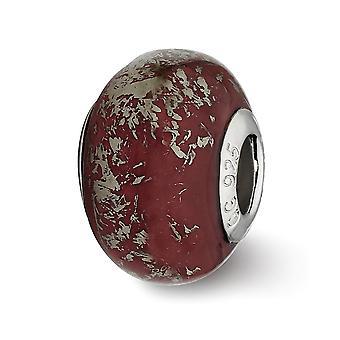 925 Sterling Silver Beaded Acabamento Polido Reflexões Vermelho Escuro Com Folha de Platina Cerâmica Colar pingente de encanto de cerâmica J