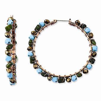 Kopparton Grön kricka och bruna akrylpärlor Hoop Örhängen Mäter 59x59mm Breda 7mm tjocka smycken gåvor för kvinnor