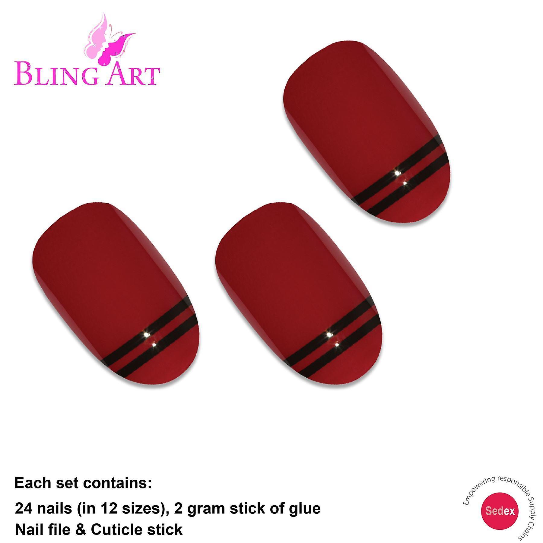 False nails by bling art red black glossy oval medium fake 24 acrylic nail tips