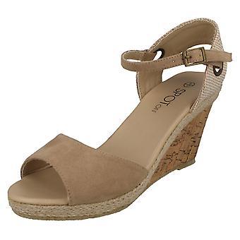 Ladies Spot Cork Wedge sandaalit F2265