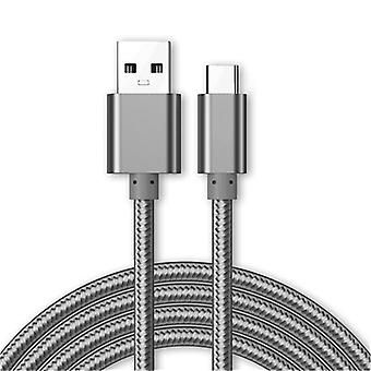 Kit Me Out Micro USB, 3.1 Amp Fast Charge Nylon Braided Cable 1M 2M 3M Grey, Gold, Rose Gold Compatible with Microsoft Surface 2, Charging Data Sync Cable Lead Cord, 1, 2, 3 Metre Set of 3