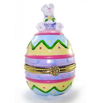 Decorated Easter Bunny Egg Hinged Trinket Box