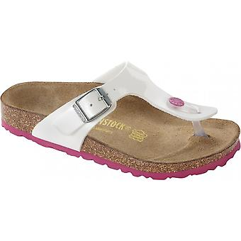 Birkenstock Kids Gizeh Patent White/Pink 345083, Single Toe Post Sandal