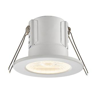 Saxby Lighting Shieldeco Fire Rated Integrated LED Bathroom Recessed Light Matt White, Acrylic IP65 73785