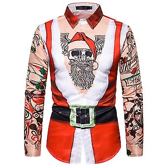 Allthemen Men 's Christmas Series Impresso camisa de manga comprida