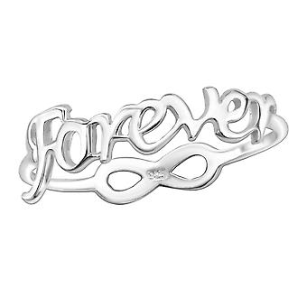 """forever"" And Infinity - 925 Sterling Silver Plain Rings - W24612x"