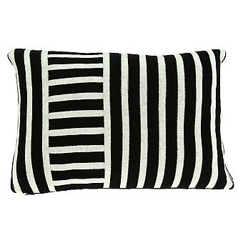"""20"""" x 5"""" x 12"""" Transitional Black Pillow Cover With Down Insert"""