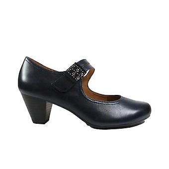 Caprice 24405 Navy Leather Womens Rip Tape Mary Jane Heeled Shoes