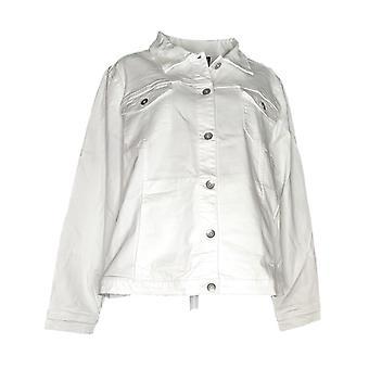 Susan graver Women ' s plus stretch twill knop front jas wit A301155
