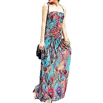 Vincenza ladies floral colourful peacock print summer beach casual holiday dress halter neck