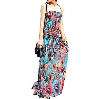 Damas floral colorido pavo real impresión verano playa casual Vestido de fiesta halter cuello
