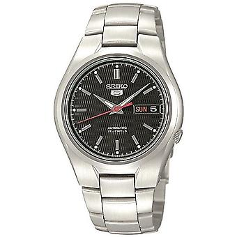 Seiko 5 Automatic Black Dial Silver Stainless Steel Mens Watch