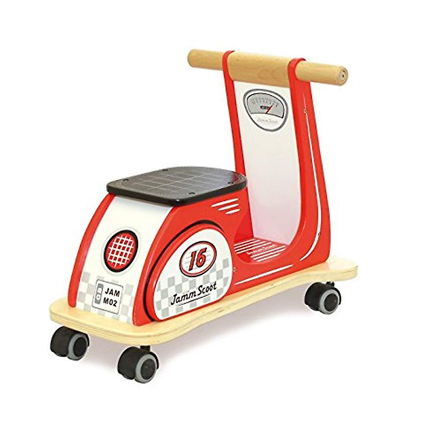 Indigo Jamm Wooden Jamm Scoot, Ride-On Scooter Toy with Retro Classic Design for Children Aged 12 Months Plus � Racing Red