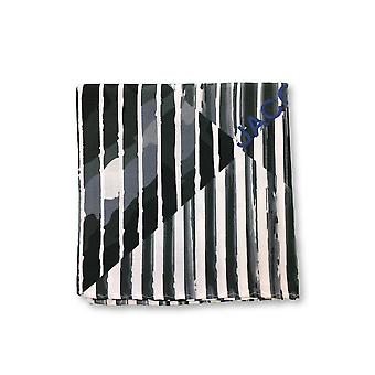 Jacob Cohen Pocket Square in grey/white/green abstract stripe design