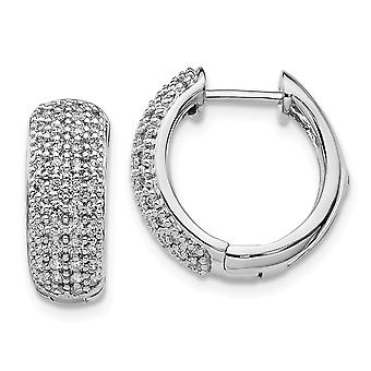 15mm 14k White Gold Diamond Hinged Hoop Earrings Jewelry Gifts for Women - .64 dwt