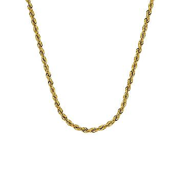 10k Yellow Gold Sparkle Cut Rope Chain Necklace 3.8mm Lobster Claw Closure Jewelry Gifts for Women - Length: 22 to 30