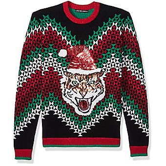 Blizzard Bay Men's Ugly Christmas Sweater Cat, Grey/Black, Small