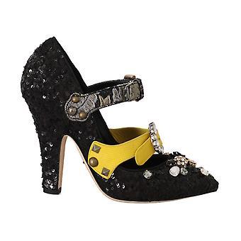 Dolce & Gabbana Svart Sequined Crystal Studs Klackar Skor