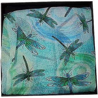 Silk Chiffon Dragonfly Collection Scarf by Ladycrow Scotland - Mint