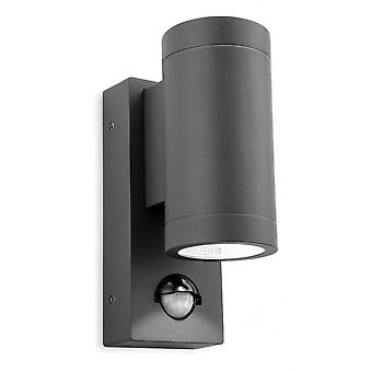 Firstlight Tubular Modern Graphite LED Sensor Outdoor Wall Downlight