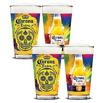 Corona Extra Día de Muertos Pint Glass Sett av 4