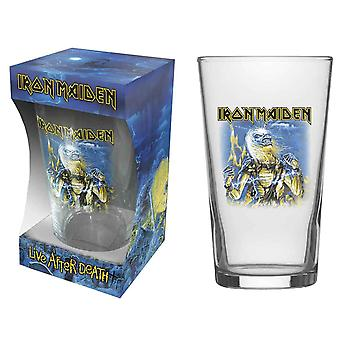 Iron Maiden Pint Glas Live After Death Band Logo neue offizielle Boxed