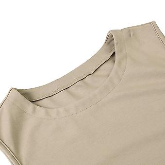 ENIDMIL Women's Casual Sleeveless High Neck Cami Tank Top (Light Khaki, XXL)
