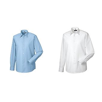 Russell Collection Mens Long Sleeve Easy Care Tailored Oxford Shirt