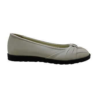Easy Street Womens Leather Closed Toe Slide Flats