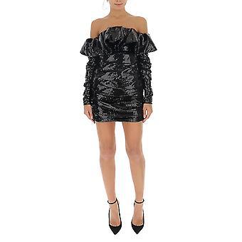 Attico 192wca33m002100 Frauen's schwarze Pailletten Kleid