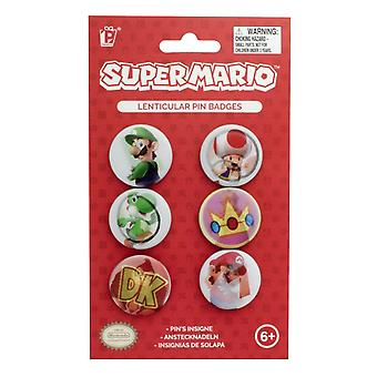 Super Mario Lenticular Pin Badges 6pk Customise Clothing Backpacks Accessories