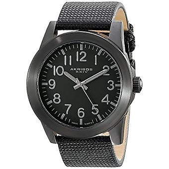 Akribos XXIV men s stainless steel watch, canvas, color: black