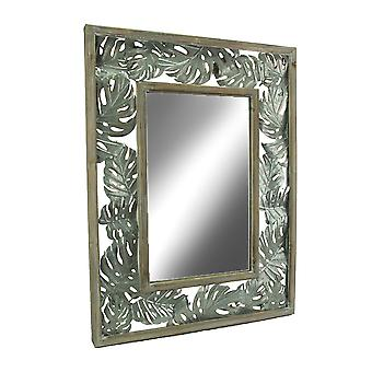Тропической древесины и металла Монстера лист дизайн настенное зеркало