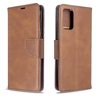 For Samsung Galaxy S20+ Plus Case, Retro PU Leather Wallet Cover with Stand & Lanyard, Brown