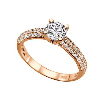 1.85 Carat G SI2 Diamond Engagement Ring 14K Rose Gold Solitaire w Accents Micro Pave 3 row