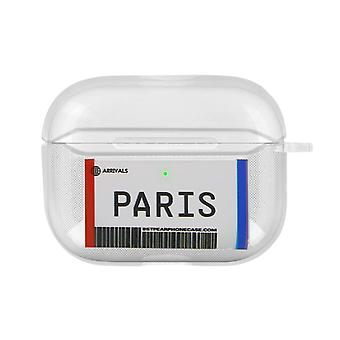 Paris Boarding Pass Soft Airpods Case Cover Anti-Scratch Carabiner- Transparent