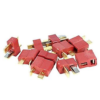 5 Paare t-Stecker m / f 2-poligen Gold-Stecker-Adapter in roter Farbe