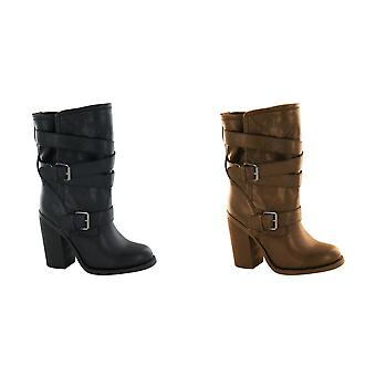 Spot On Womens/Ladies Buckle Up High Heeled Boots