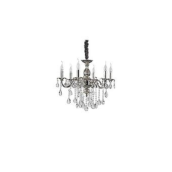 Silver Pendant Light In Crystal Impero 6 Bulbs