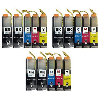 3 sarjaa + ylimääräinen musta brother LC3217 -yhteensopivan /muun kuin OEM-laitevalmistajan tilalle Go Inksillä (15 mustetta)